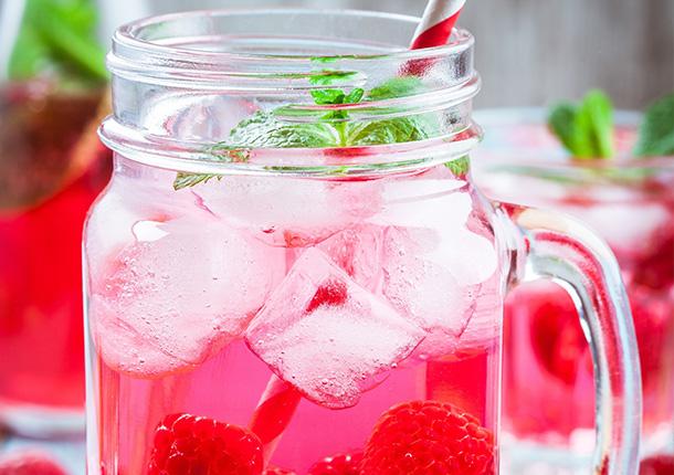 Raspberries soup with Fruit Garden