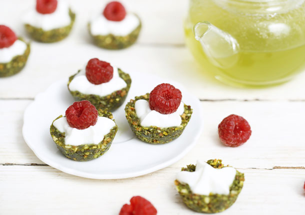 Mini raw Matcha and pistachio tartlets